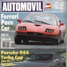 Coches y Motocicletas: REVISTA AUTOMOVIL Nº 128 AÑO 1988. PRUEBA: FERRARI PACE CAR. PORSCHE 944 TURBO CUP. ALFA SPRINT 1.7 . Lote 42700096
