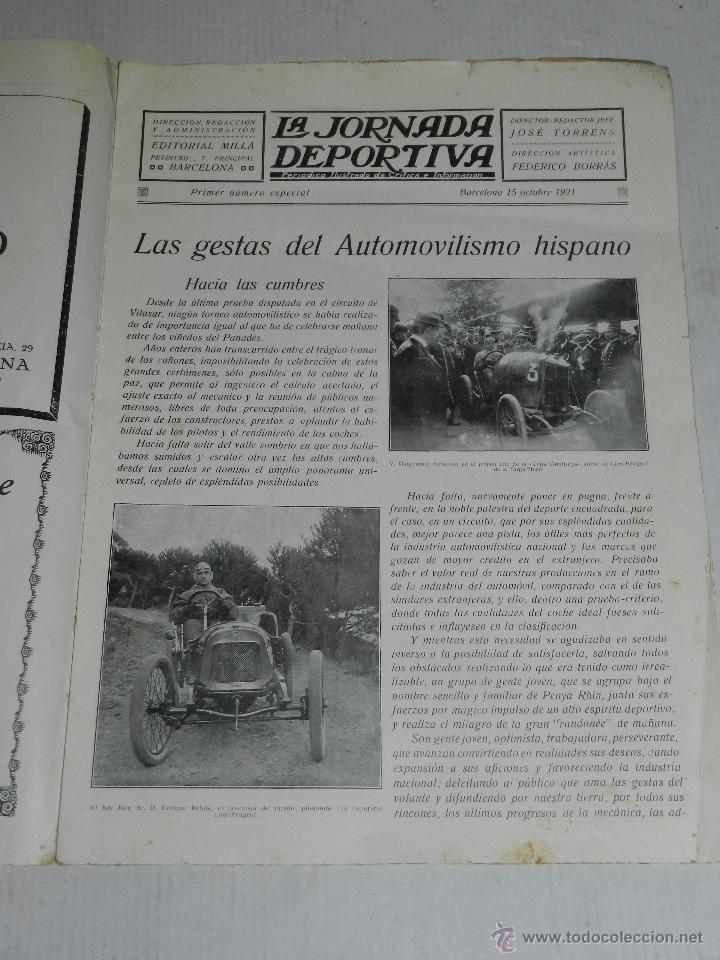 Coches y Motocicletas: REVISTA LA JORNADA DEPORTIVA, PRIMER NUMERO ESPECIAL DEDICADO AL GRAN PREMIO PENYA RHIN 1921 - Foto 2 - 44772328