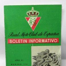 Coches y Motocicletas: REAL MOTO CLUB DE ESPAÑA, BOLETIN INFORMATIVO NUMS. 116, FEBRERO 1960, CON PUBLICIDAD DE VESPA, TIEN. Lote 47403074