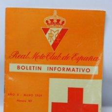 Coches y Motocicletas: REAL MOTO CLUB DE ESPAÑA, BOLETIN INFORMATIVO NUMS. 107, MAYO 1959, CON PUBLICIDAD DE VESPA, TIENE 2. Lote 47403181