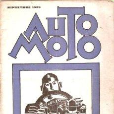 Coches y Motocicletas: REVISTA AUTO MOTO SEPTIEMBRE 1929 REPORTAJE II CAMPEONATO MOTOCICLISTA PENYA RHIN. Lote 48775844