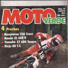 Coches y Motocicletas: REVISTA MOTO VERDE Nº 61 AÑO 1983. PRUEBA: RIEJU 80 TT. HUSQVARNA 250 CROSS. COMP: HONDA XL 600R Y. Lote 48997269