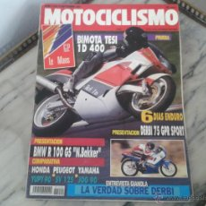 Coches y Motocicletas: MOTOCICLISMO SEP´91 DERBI GPR 75, BIMOTA TESI 400, YAMAHA YOG 90, PEUGEOT SV, HONDA YUPY, BMW R 100. Lote 50433143