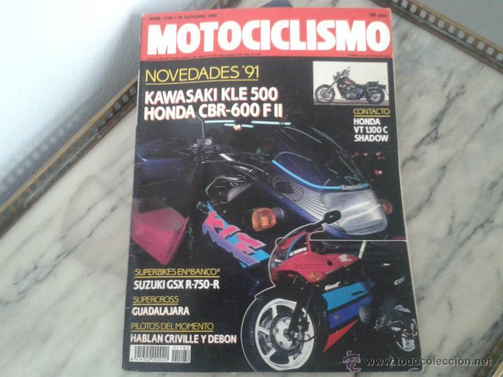 MOTOCICLISMO OCT´90 KAWASAKI KLE 500, HONDA SHADOW 1100, SUZUKI RM 80, SUZUKI GSXR 750, HONDA CBR (Coches y Motocicletas - Revistas de Motos y Motocicletas)