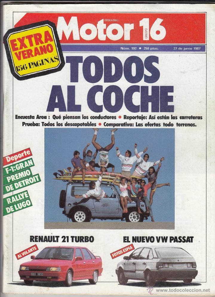 REVISTA MOTOR 16 Nº 192 AÑO 1987. PRUEBA: RENAULT 21 TURBO.COMPARATIVA: DESCAPOTABLES. TODO TERRENO. (Coches y Motocicletas - Revistas de Motos y Motocicletas)