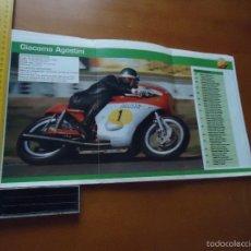 Coches y Motocicletas: CARRERAS DE MOTOS 43,5X24,5 GRAN POSTER MOTO - GIACOMO AGOSTINI , AGUSTA MV . Lote 55879050