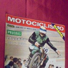 Coches y Motocicletas: MOTOCICLISMO. Nº 452. 27 MARZO 1976. PRUEBA: LAVERDA 750 Y 1000.. Lote 56841956