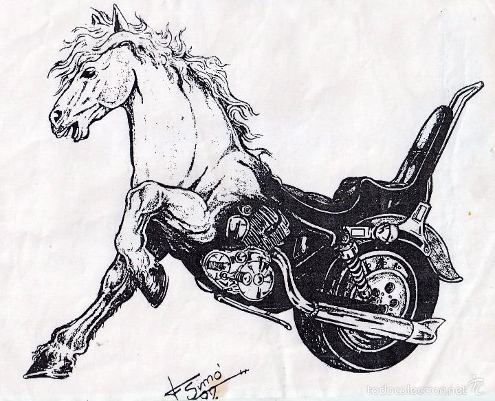 CARTEL ORIGINAL Y DIBUJO FIRMADO POR DIBUJANTE F SIMÓ AÑO 1992 II CUSTOM SUNDAY EN REUS (Coches y Motocicletas - Revistas de Motos y Motocicletas)