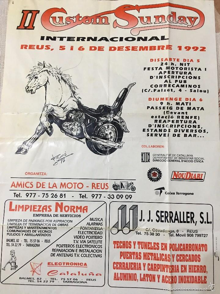 Coches y Motocicletas: Cartel Original y Dibujo firmado por Dibujante F Simó año 1992 II Custom Sunday en Reus - Foto 2 - 58296675
