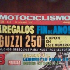 Coches y Motocicletas: REVISTA MOTOCICLISMO N'443 AÑO 1975,PRUBAS - DULZÓN S12, LUMBRETTA PUMA 5V,DERBI CROSS - 74.. Lote 59865918