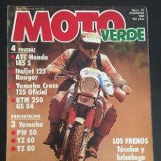 Carros e motociclos: REVISTA MOTO VERDE NUMERO Nº 67 FEBRERO DE 1984 ATC HONDA 185 S ITALJET 125 RANGER YAMAHA CROSS 125 . Lote 63114600