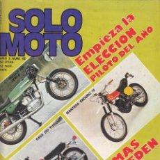 Coches y Motocicletas: REVISTA SOLO MOTO ACTUAL Nº 63 AÑO 1976. PRUEBA: TORROT MINI. SANGLAS 500 S. FALTA POSTER QUE AFECTA. Lote 128692822
