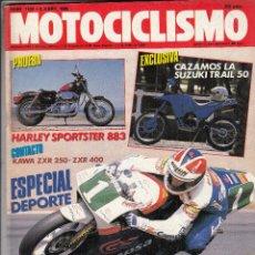 Coches y Motocicletas: REVISTA MOTOCICLISMO Nº 1102 AÑO 1989. PRUEBA HARLEY SPORTSTER 883.CONTACTO: KAWASAKI ZXR 250. Lote 82347728
