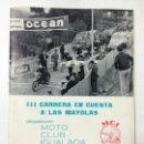 Coches y Motocicletas: PROGRAMA III CARRERA EN CUESTA A LAS MAYOLAS, MOTO CLUB IGUALADA 1966, AUTOMOVILISMO MOTOCICLISMO.. Lote 83315536