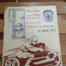 Coches y Motocicletas: MOTO-CLUB VALENCIA. PRUEBA DEL LITRO. CIRCUITO PASEO ALAMEDA. 15 JULIO 1945. Lote 100427814
