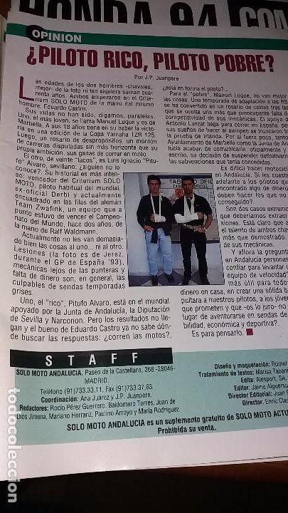 Coches y Motocicletas: Revistas antigua de motociclismo SOLO MOTO N° 895 y revista antiguas Andalucía N°4 motos año 1993 - Foto 3 - 102978359