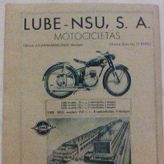 Coches y Motocicletas: MOTOCICLETAS LUBE NSU S.A. BARACALDO VIZCAYA PUBLICIDAD ORIGINAL DE PRENSA AÑO 1956 . Lote 105122835