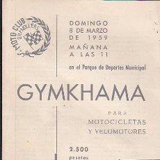Coches y Motocicletas: PROGRAMA GYMKHANA MOTO CLUB GRANOLLERS 1959. Lote 107643627