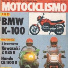 Coches y Motocicletas: MOTOCICLISMO *** NÚMERO 817 DE SEPTIEMBRE 1983 *** BMW K-100 *** KAWASAKI *** HONDA. Lote 110294911
