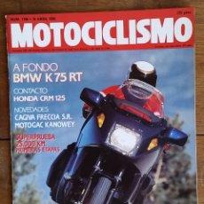 Coches y Motocicletas: REVISTA MOTOCICLISMO Nº 1156. AÑO 1990. 19 ABRIL. BMW K 75 RT. CAGIVA FRECCIA C 12 R. HONDA CRM 125.. Lote 103702427