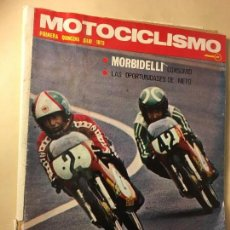 Coches y Motocicletas: REF-LAU REVISTA MOTO MOTOCICLISMO ANGEL NIETO 1973 POSTER YAMAHA 500 CONTRA. GILERA 150. Lote 111282747