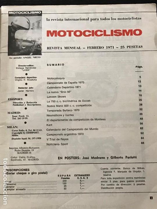 Coches y Motocicletas: MOTOCICLISMO FEBRERO 1971 - MONTESA BRIO 50 / SALON LONDRES / DUCATI 750 / MANX 500 / MONTESA - Foto 2 - 124480667