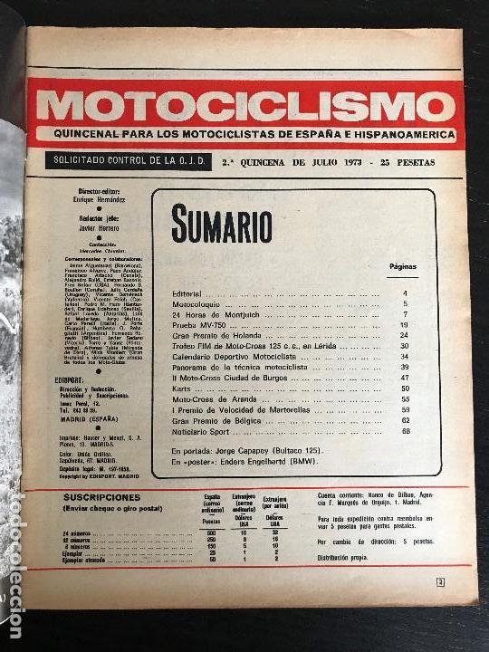Coches y Motocicletas: MOTOCICLISMO 2ª QUINCENA - JULIO 1973 - MV 750 / GP HOLANDA / 24 HORAS MONTJUIC - Foto 2 - 126050203