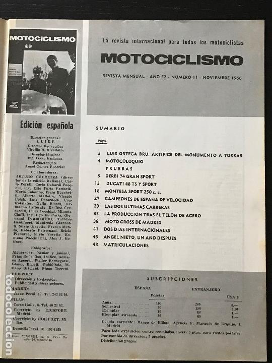 Coches y Motocicletas: MOTOCICLISMO - NOVIEMBRE 1966 - DERBI 74 GRAN SPORT / DUCATI 48 TS Y SPORT / MONTESA SPORT 250 - Foto 2 - 127980567
