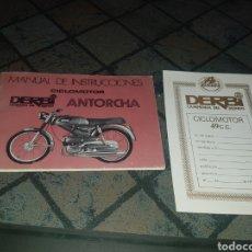 Coches y Motocicletas: MANUAL DE INSTRUCCIONES DERBI Y GARANTÍA. Lote 131438547