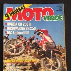 Coches y Motocicletas: REVISTA MOTO VERDE NUMERO 81 HONDA CR 250 R HUSQVARNA MZ ENDURO 500 TRIALSIN INDOOR. Lote 134767586