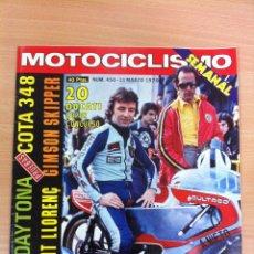 Coches y Motocicletas: REVISTA MOTOCICLISMO, Nº 450, MARZO 1976: TEST MONTESA COTA 348, ÁNGEL NIETO CON BULTACO EN CULLERA. Lote 54908305
