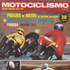 Coches y Motocicletas: REVISTA MOTOCICLISMO 2ª QUINCENA MAYO 1974 PRUEBA MORINI 350. Lote 136824230