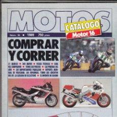 Coches y Motocicletas: CATALOGO MOTOR 16 Nº 16 AÑO 1989. MOTOS COMPRAR Y CORRER.. Lote 138772146