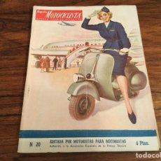 Coches y Motocicletas: ESPAÑA MOTOCICLISTA, REVISTA TECNICA DEPORTIVA N. 20, JUNIO 1953, VESPA PORTADA, MONTESA LUBE ETC. Lote 141232110