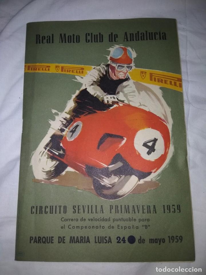 RAREZA REVISTA R. MOTO CLUB DE ANDALUCÍA, CIRCUITO SEVILLA 1959 (Coches y Motocicletas - Revistas de Motos y Motocicletas)