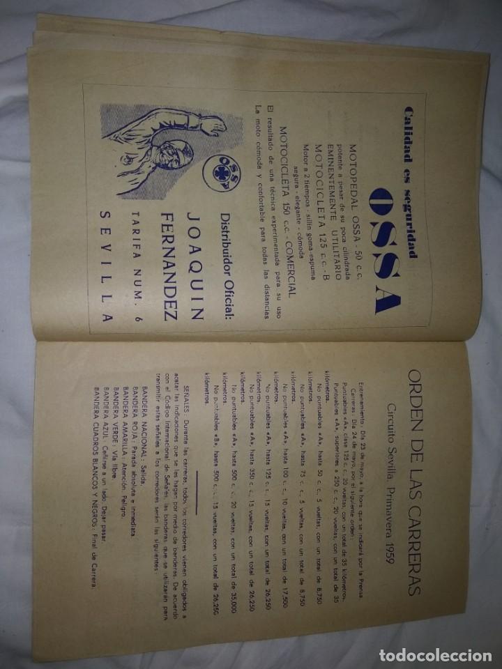 Coches y Motocicletas: Rareza Revista R. Moto club de Andalucía, circuito Sevilla 1959 - Foto 7 - 144378674