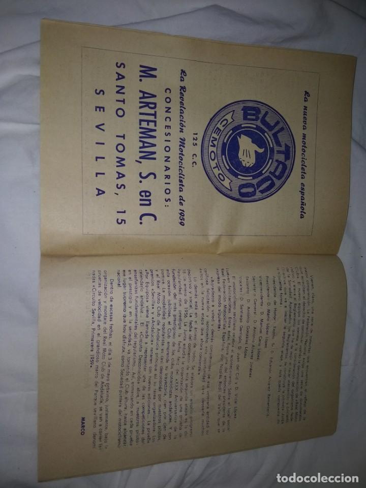 Coches y Motocicletas: Rareza Revista R. Moto club de Andalucía, circuito Sevilla 1959 - Foto 14 - 144378674