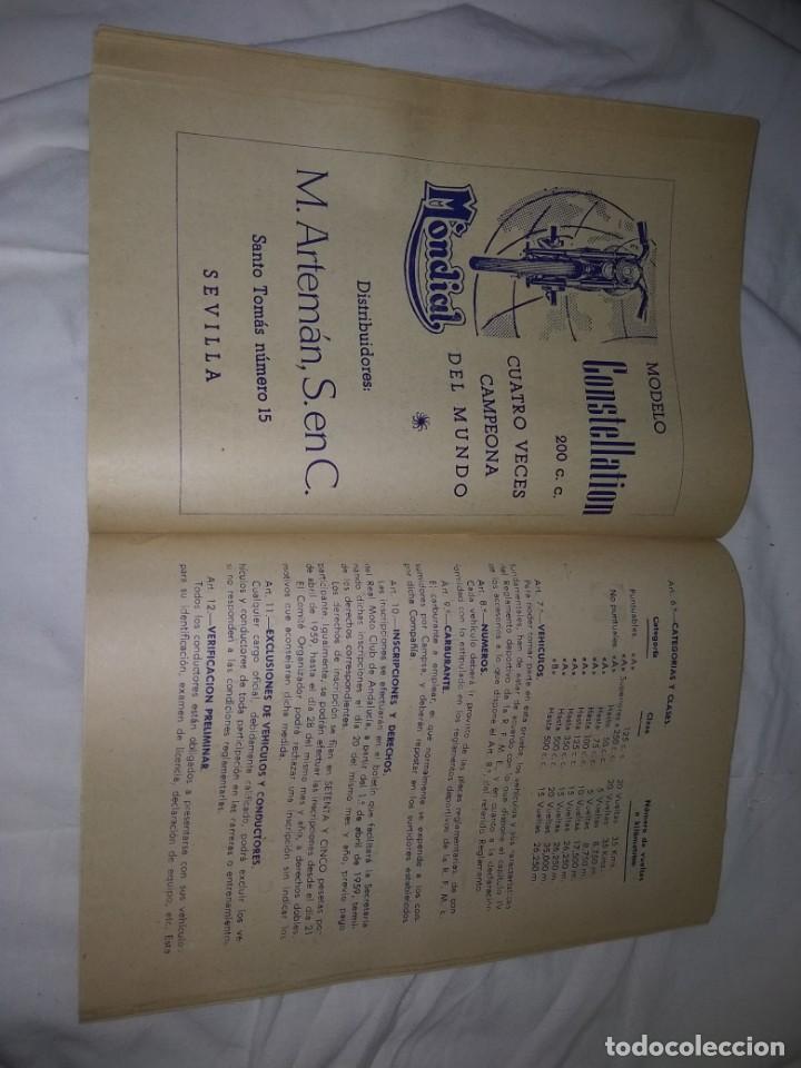 Coches y Motocicletas: Rareza Revista R. Moto club de Andalucía, circuito Sevilla 1959 - Foto 16 - 144378674