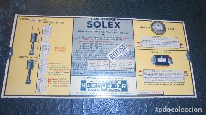 CARBURADORES SOLEX - ANTIGUA REGLA PARA EL REGLAJE - PERFECTO ESTADO 22X12 CM. (Coches y Motocicletas - Revistas de Motos y Motocicletas)