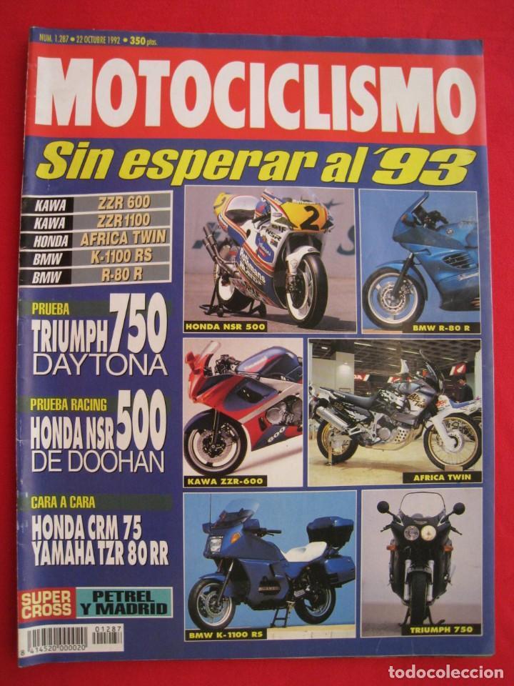 REVISTA MOTOCICLISMO - Nº 1.287 - 22 OCTUBRE 1992. (Coches y Motocicletas - Revistas de Motos y Motocicletas)