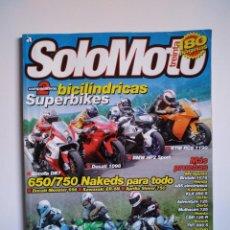 Coches y Motocicletas: REVISTA SOLO MOTO TREINTA Nº 306 BIMOTA DB7 DUCATI 1098 MV AGUSTA BRUTALE DERBI MULHACEN BENELLI TNT. Lote 151552438