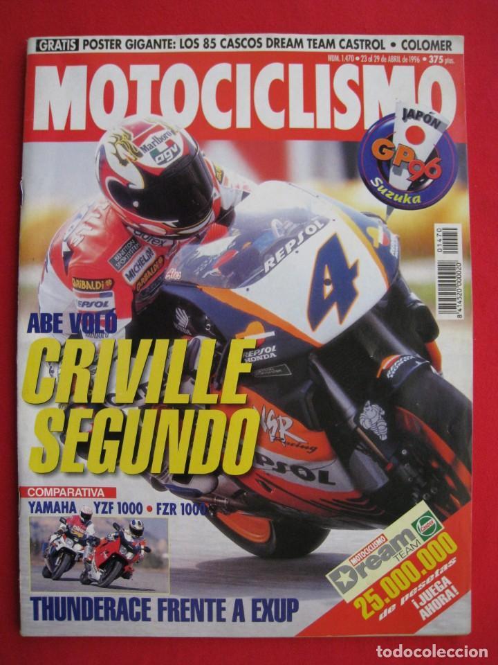 REVISTA MOTOCICLISMO -Nº 1.470 -23 AL 29 ABRIL 1996-POSTER GIGANTE LOS 85 CASCOS DREAM TEAM CASTROL. (Coches y Motocicletas - Revistas de Motos y Motocicletas)
