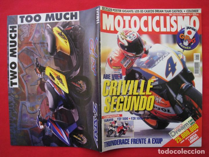 Coches y Motocicletas: REVISTA MOTOCICLISMO -Nº 1.470 -23 AL 29 ABRIL 1996-POSTER GIGANTE LOS 85 CASCOS DREAM TEAM CASTROL. - Foto 3 - 151887574