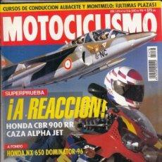 Coches y Motocicletas: REVISTA MOTOCICLISMO Nº 1476 AÑO 1996. PRUEBA: HONDA CBR 900 RR. HONDA NX 650 DOMINATOR. . Lote 152010498