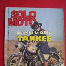 Coches y Motocicletas: REVISTA SOLO MOTO - Nº 65 - 26 NOVIEMBRE 1976 - CON POSTER DEL CAMPEONATO DEL MUNDO SOBRE HIELO.. Lote 156255094