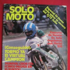 Coches y Motocicletas: REVISTA SOLO MOTO - Nº 293 - 9 JULIO 1981.. Lote 156343430