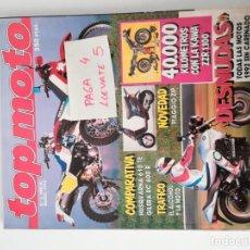 Coches y Motocicletas: REVISTA TOP MOTO 3 * MARZO 1992 * HUSQVARNA 610 TE + GILERA RC 600 R + PIAGGIO ZIP * 57. Lote 157401710