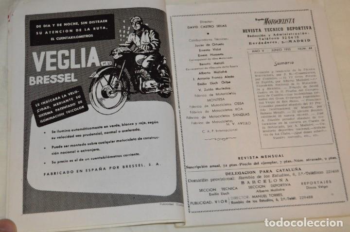 Coches y Motocicletas: VINTAGE Y ANTIGUA - ESPAÑA MOTOCICLISTA - Nº 44 - JUNIO DE 1955 - NUMEROSA PUBLICIDAD - ENVÍO 24H - Foto 5 - 157458458