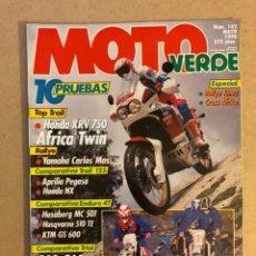 Coches y Motocicletas: MOTO VERDE N° 142 (1990). TRAIL (HONDA XRV 750 AFRICA TWIN), TRAIL 125 (APRILIA PEGASO VS HONDA NX),. Lote 159291156