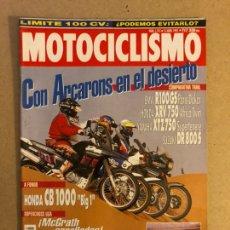 Coches y Motocicletas: MOTOCICLISMO N° 1312 (1993). BMW R100GS, HONDA XRV 750, YAMAHA XTZ 750, SUZUKI DR 800 S, HONDA CB 10. Lote 160196549